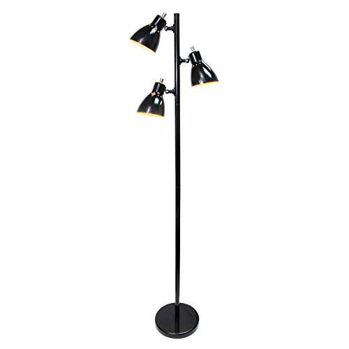 Simple Designs Home LF2007-BLK Simple Designs Metal 3-Light Tree Floor Lamp, Black Finish