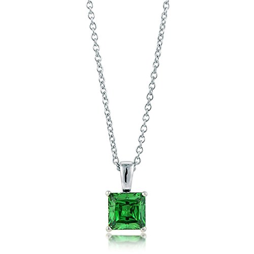BERRICLE Rhodium Plated Sterling Silver Cubic Zirconia CZ Solitaire Pendant Necklace 6mm 16