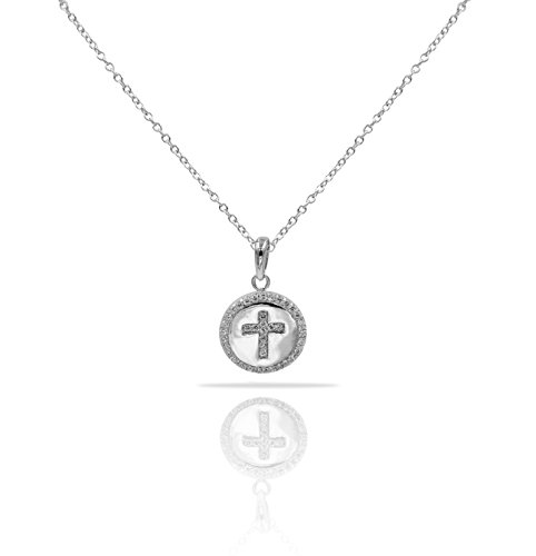 Sterling Silver Pendant Necklace with CZ Crystal Pave Halo Cross Round Medallion Charm, Rhodium Plated 925 Silver, Adjustable Chain Length 16