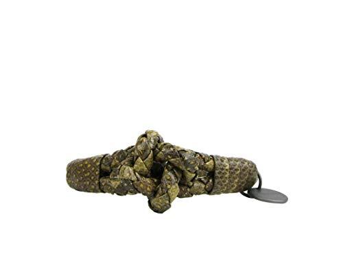 Bottega Veneta Women's Yellow/Brown Snake Leather Braided Bracelet with Knot 312080 9441