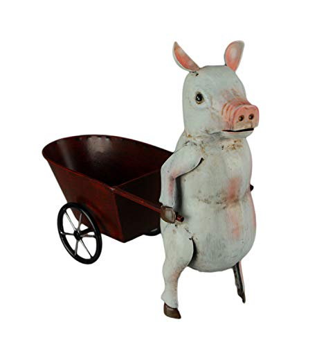 Pink and White Metal Art Pig Pulling Cart Planter Sculpture, Red