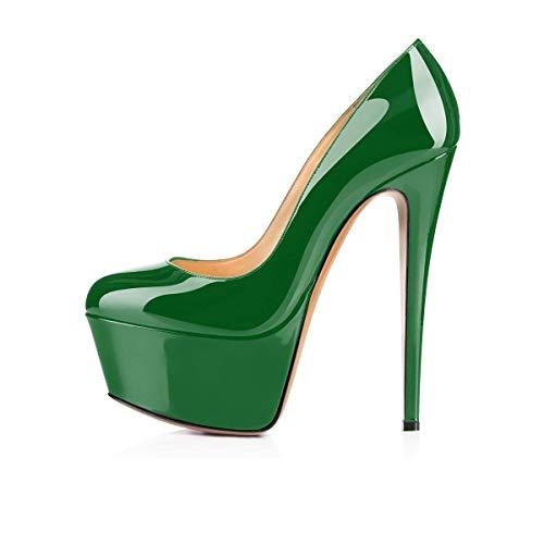 Plataforma Mujer Tacones Heels Moda Stiletto On Super Pan Boda High Green Caitlin Zapatos Slip Cerrado De La Doble PpqFBRxw