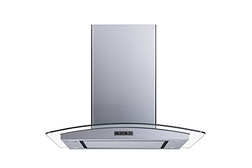 "30"" 400 CFM Convertible Island Mount Range Hood with Mesh Filters and Stainless Steel Panel and 4 LED Lights"