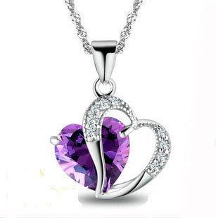 Encontrar para mujer Swarovski Element Amatista Rojo, Rosa, Azul Blanco Cristal-corazón de plata collar colgante + pendiente, para las mujeres, niñas.
