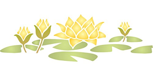 """Water Lily Stencil - (size 13""""w x 4.5""""h) Reusable Wall Stencils for Painting - Best Quality Wall Border Flower Stencil Ideas - Use on Walls, Floors, Fabrics, Glass, Wood, Terracotta, ()"""