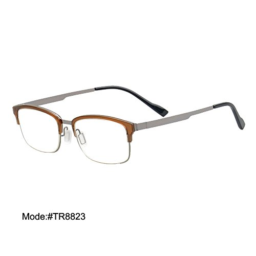 TR8823 Clear Lens Anti-blue Light Reading Glasses Reader WITH Plano +100~+400 (brown, - Lenses Plano