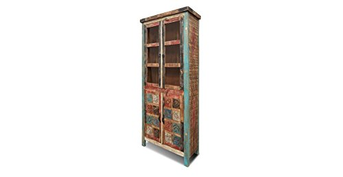 Crafters and Weavers La Boca Carved Reclaimed Wood China Cabinet or Bookcase