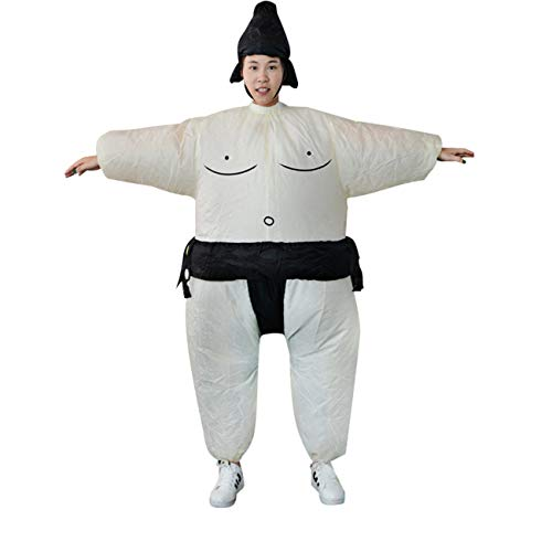 FayOK Inflatable Sumo Dress Fat Man and Woman Suite Fat Masked Suit Blow Up Dress -