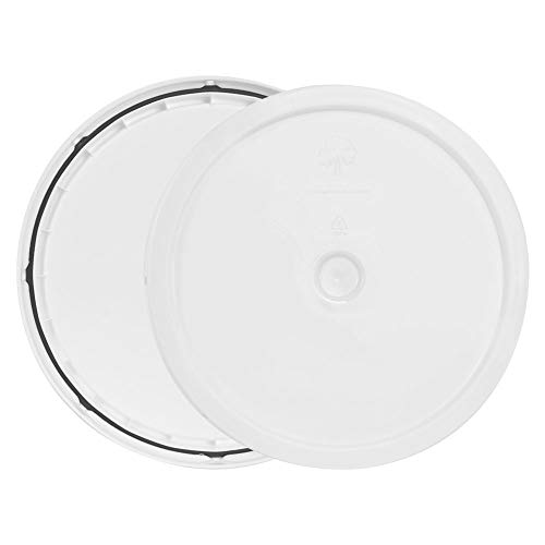 (White 3.5 to 5.25 Gallon High Density Plastic Lid with Tear Tab)