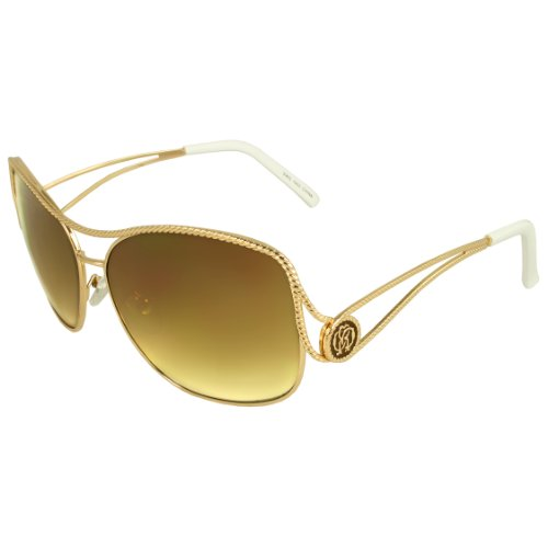 MLC EYEWEAR ® SWG1002-GDWHTAM Urban Shield Fashion Sunglasses Gold White Frame Amber - Jacobs Michael Sunglasses