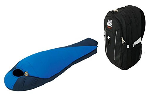 High Peak USA Alpinizmo One Lite Weight Extreme Pak 0 Sleeping + One Hiking Pack Combo, Black/Blue, One Size by High Peak USA Alpinizmo