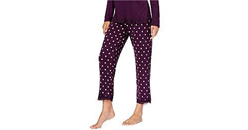 - Alfani Women's Cropped Lace Trim Pajama Pant Fig Pin Dot Size Medium