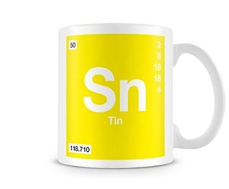 Periodic Table Of Elements 50 Sn Tin Symbol Mug Amazon
