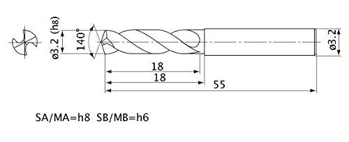 Mitsubishi Materials MWE0320SA MWE Series Solid Carbide Drill 3.2 mm Cutting Dia External Coolant 2 mm Hole Depth 3.2 mm Shank Dia. 0.6 mm Point Length