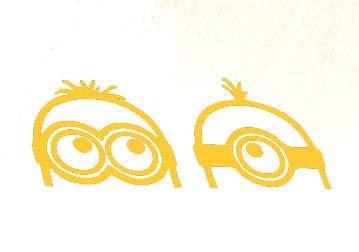 Creative Concepts Ideas Two 2 Minions Peeking Gold Yellow CCI Decal Vinyl Sticker|Cars Trucks Vans Walls Laptop|Yellow|7.5 x 2.75 -