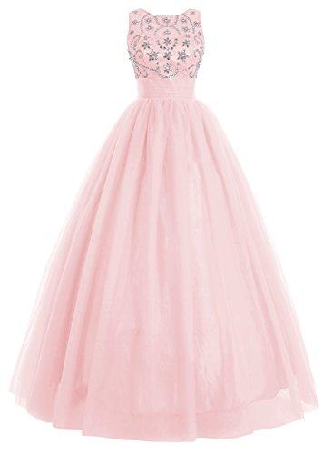 Bbonlinedress Vestido De Fiesta Largo Boda Noche Con Cuentas Tul Falda Con Gran Volumen Rosa