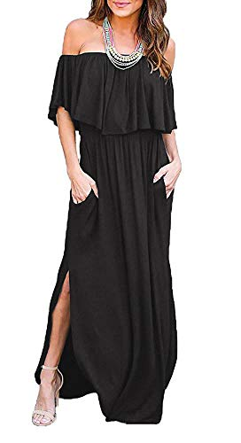 Womens Off The Shoulder Ruffle Party Dresses Side Split Beach Black Maxi Dress Medium ()