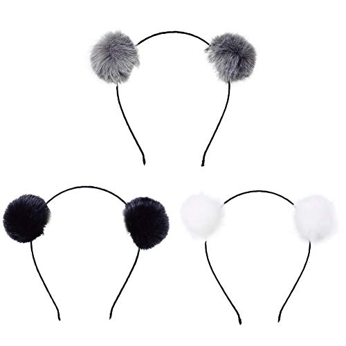 (BAOBAO Faux Fluffy Rabbit Fur Ball Cat Ears Panda Hair Hoop Headband Xmas Party Cosplay)
