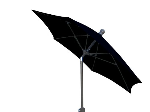 FiberBuilt Umbrellas Terrace Umbrella with Push-Button Tilt, 7.5 Foot Black Canopy with Champagne Bronze Pole
