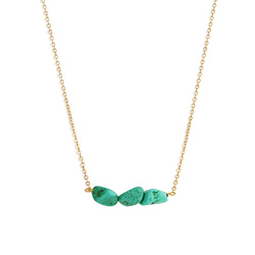 Befettly Mini Imitation Turquoise Pendant Delicate Necklace Handmade 14k Gold Fill Choker Necklace-CK2-Turquoise ()