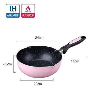 Sartenes Mini wok estilo japonés 20 cm de cocina antiadherente olla individual pequeña olla de suplemento de alimentos para bebés wok 24 cm (sin tapa): ...
