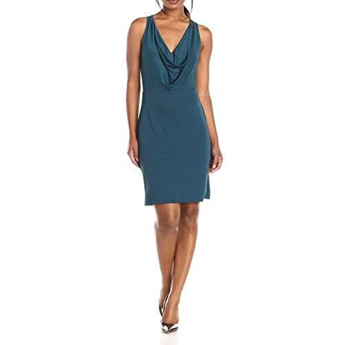 Isbxn Femmes Sexy col v sans Manches Jupe croise Hors paule Robe lgante temprament (Color : Black, Size : M) Blue
