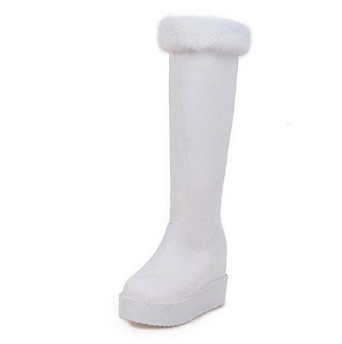 AllhqFashion Womens PU High-Top Solid Pull-On High-Heels Boots White mZv1huWO2I
