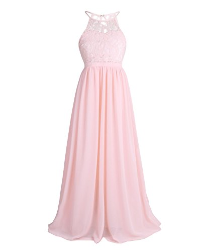 YiZYiF Kids Big Girls Halter Chiffon Lace Wedding Flower Girl Dresses Evening Prom Maxi Dance Party Gowns Pearl Pink 12 ()