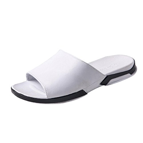 Summer Women Sandals Wide Band Slide Flat Bohemia Flower Strap Flip Flop Bohemian Low Heeled Sandals Slide Platform Thong Slipper Open Toe Soft Girl Outdoor Beach Shoes (US:7, White)