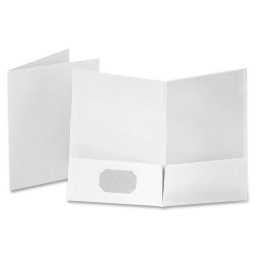 Wholesale CASE of 5 - Esselte Linen Twin Pocket Portfolios-Linen Twin Pocket Portfolio, 25/BX, White