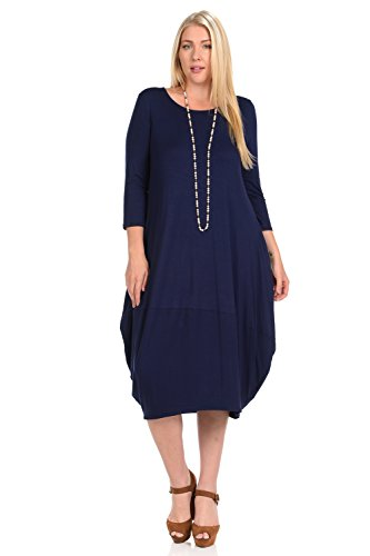 (Pastel by Vivienne Women's Cocoon Midi Dress Plus Size XX-Large Navy)