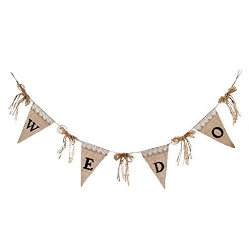 We Do Wedding Banner Burlap Sign Garland Decoration Bride Groom -