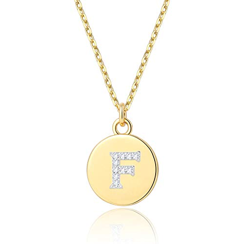 BOUTIQUELOVIN 14K Gold Initial Necklace Disc Alphabet F Letter Pendant Jewelry Gifts for Women Girls