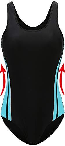 EBMORE Womens One Piece Swimsuit Bathing Suit Chlorine Resistant Athletic Sport Training Exercise (Black B,US 16-18)