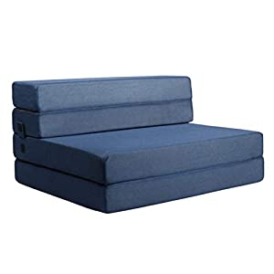 Blue fabric foam sleeper currently in sofa mode