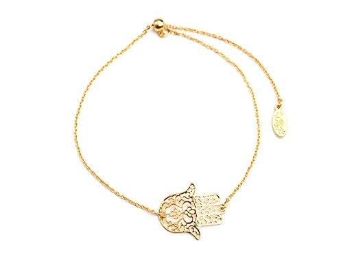 BC1852D - Bracelet Fine Chaîne avec Charm Main de Fatma Métal Doré - Mode Fantaisie
