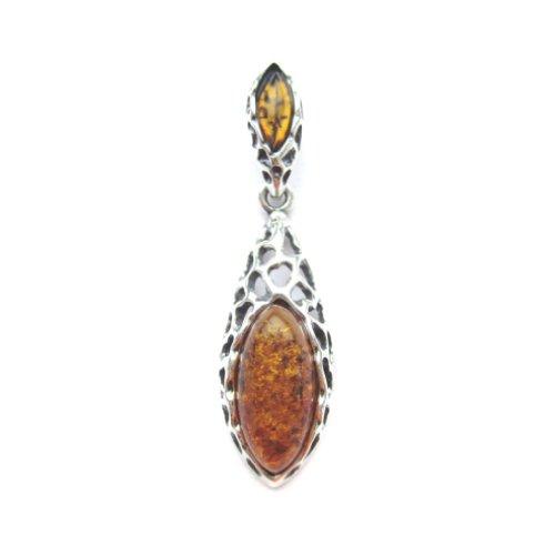Honey Amber Sterling Silver Drop Pendant ()
