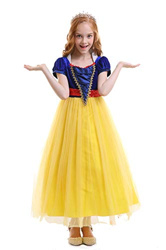 FYMNSI Girls Snow White Costume Fairytale Princess Dress Short Sleeve Dresses up Cosplay Party Ball Evening Gown Yellow 12-13 ()