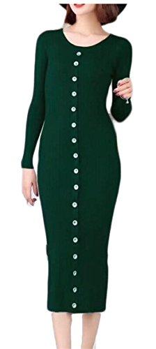 Jaycargogo Bouton Manches Longues Amincissent Robe Pull Ras Du Cou En Bonneterie Vert Des Femmes