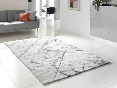 KOTON Marble Petit Tapis de Salon, Style marbre et Joints (Blanc, Gris,  Acier, 80 x 150 cm)