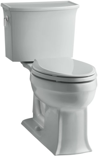 Ice Grey Elongated Rough - KOHLER K-3551-95 Archer Comfort Height Two-Piece Elongated 1.28 GPF Toilet with AquaPiston Flush Technology and Left-Hand Trip Lever, Ice Grey