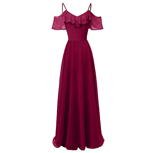 DEATU Long Dress Women Vintage Princess Elegance Cocktail V-Neck Ladies Party Swing Sleeveless Long Dress(Wine,XXL) -