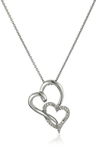 Sterling Silver Diamond Double Heart Pendant Necklace (1/10 cttw), 18""