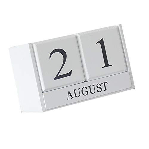 SM SunniMix Wood Table Calendar Block Art Crafts Home School Office Supplies Perpetual Calendar Desk Top - White