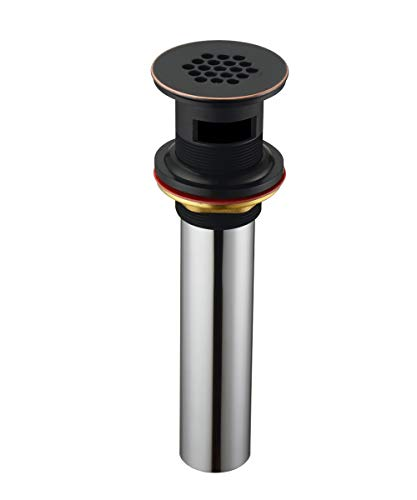 Purelux Grid Drain Strainer Assembly with Overflow for Bathroom Sink, made of Brass Oil Rubbed Bronze