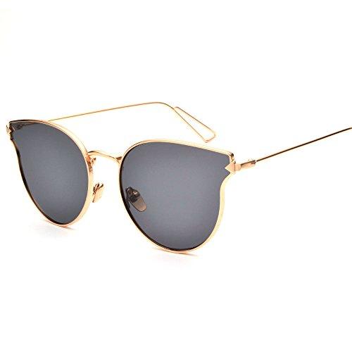 New Fashion Women's Sunglasses Women Sun Glasses Metal Cat Eyes Grey - E Sunglasses Commerce