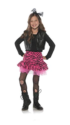 Little Girl's 80's Retro Flashback Valley Girl Zebra Rocker Costume - -