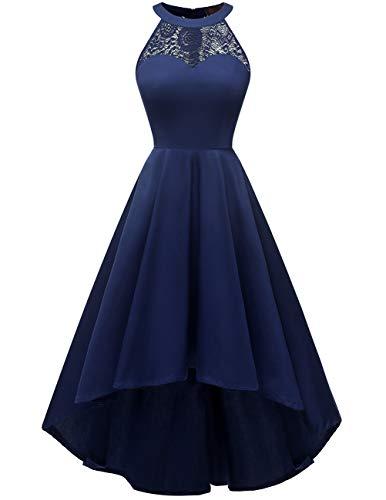 (DRESSTELLS Women's Vintage 50's Bridesmaid Halter Floral Lace Cocktail Prom Party Hi-Lo Dress Navy S)