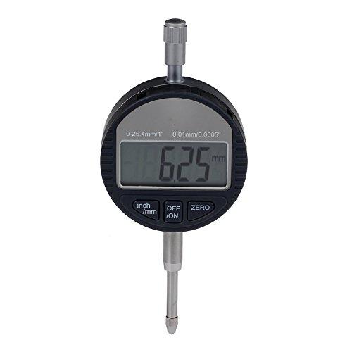 Rhinocoeu Digital Indicator Electronic DTI Dial Tester 0.01mm/.0005''Clock Gauge 0- 25.4mm/1''-Silvery