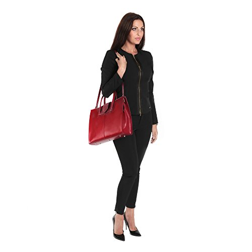 d'affaires en cm Cartel Made Handbag cuir italien Italy Femme Rouge documents in 40x30x10 Porte 0q76gW